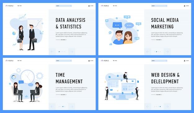 Análise de dados de design de web de gerenciamento de marketing e conjunto de estatísticas