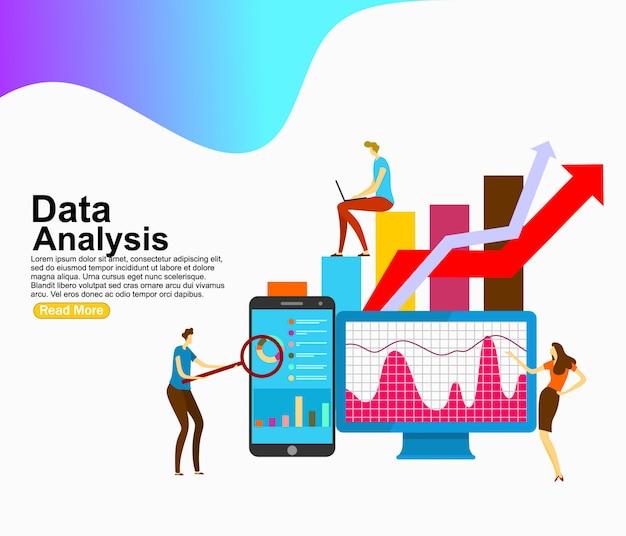 Análise de dados decorada personagem de pessoas. modelo de plano de fundo