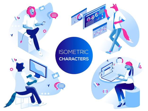 Análise de dados e situações de escritório. pessoas de vetor trabalham e interagem com gráficos, dispositivos.