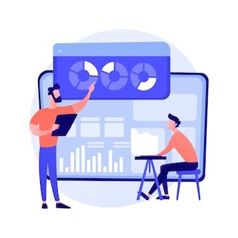 Análise de dados estatísticos. administração financeira. diagrama circular com segmentos coloridos, gráfico de pizza de negócios. estatísticas, auditoria, consultoria.