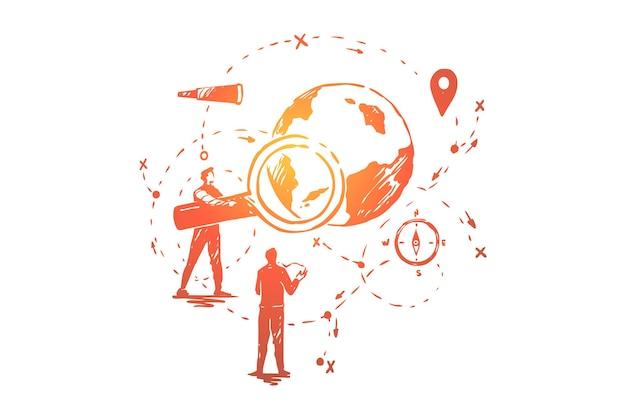 Análise de dados globais, pesquisa de seo, ilustração de desenvolvimento de sistema de navegação