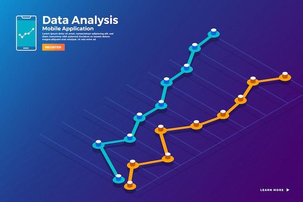 Análise de dados isométricos de conceito de ilustrações e relatório gráfico de sagacidade estática e gráfico gráfico. modelo de banner de modelo de site. ilustrar.