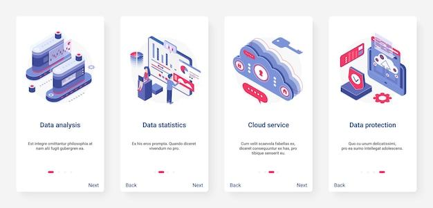 Análise de dados isométricos, ux de armazenamento e proteção, conjunto de tela de página de aplicativo móvel ui