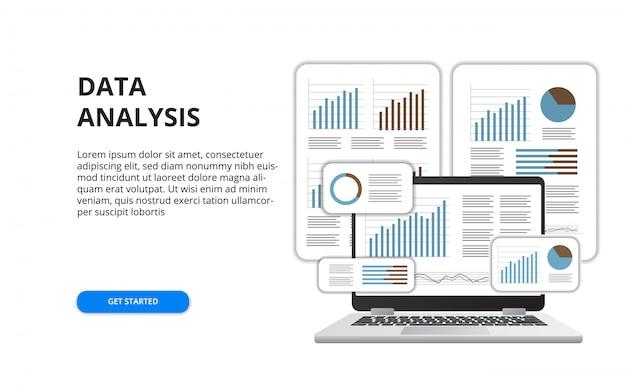 Análise de dados para o conceito de relatório de finanças de negócios com ilustração de laptop 3d e gráfico