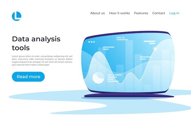 Análise de dados, pesquisa, planejamento, estatística, conceito de gestão financeira. amostras globais do modelo da página de destino