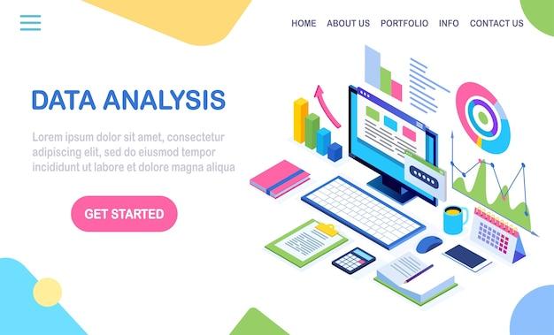 Análise de dados. relatórios financeiros digitais, seo, marketing. gestão de negócios, desenvolvimento. laptop isométrico, computador, pc com gráfico, gráfico, estatística. para o site