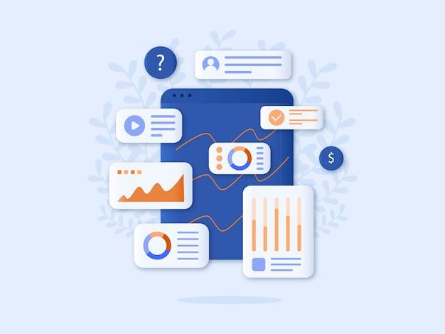 Análise de dados vector design plano de ilustração