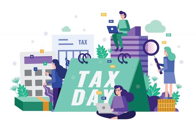 Análise de equipe de negócios e dados fiscais de estratégia no prazo final do imposto.