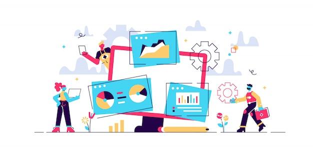 Análise de estatísticas de mercado, desenvolvimento de estratégias de marketing. pesquisa de negócios. identificar necessidades de negócios, determinar soluções, conceito de problemas de negócios de ti. ilustração criativa do conceito isolado