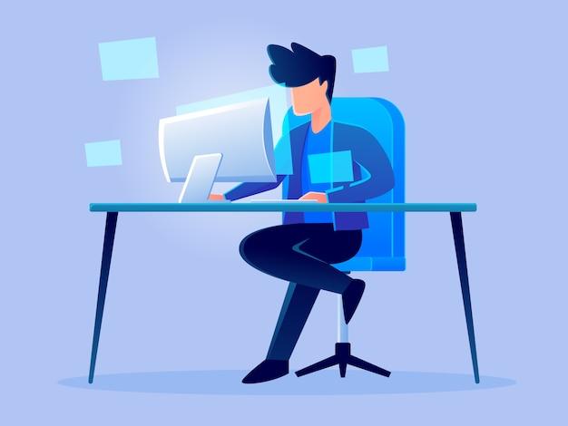 Análise de holograma futurista digital trabalho personagem vector design ilustração