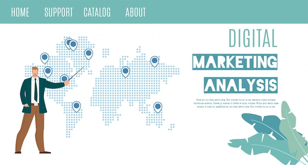Análise de marketing digital flat vector web banner