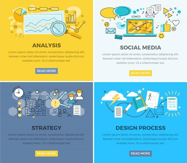 Análise de mídia social e design progresso estratégia vector web banner