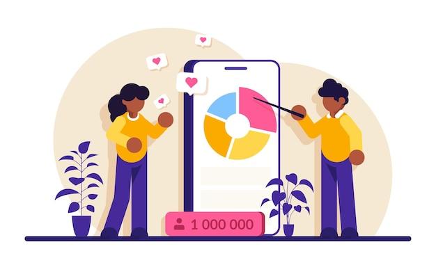 Análise de mídia social. o comerciante analisa a empresa de publicidade de seus clientes. rastreando novos dados.