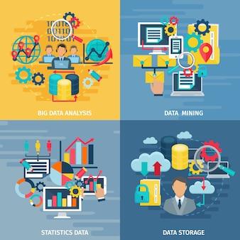Análise de mineração de dados grande e tecnologia de armazenamento 4 bandeira de composição quadrada de ícones lisos