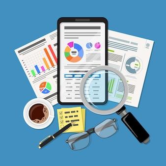 Análise de negócios, auditoria e pesquisa financeira