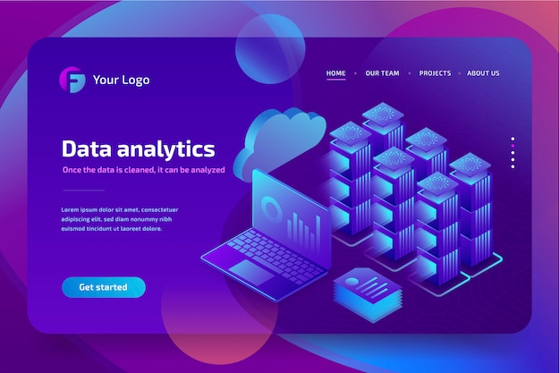 Análise de negócios conceito de dados financeiros gráficos ou diagramas, modelo de página de aterrissagem. isométrico