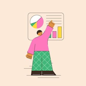 Análise de negócios de ilustração vetorial um trabalhador de escritório estudando análise de infográficos de indicadores de crescimento em gráficos e tabelas uma cena abstrata de análise em um estilo minimalista e brilhante