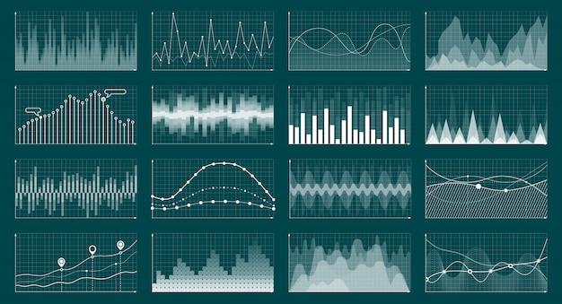 Análise de negócios economia troca gráficos ciano vector conceito ilustração