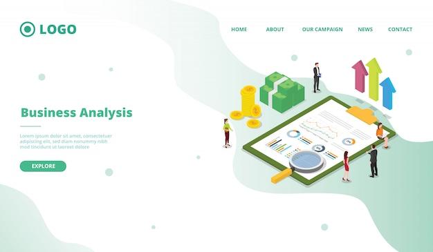 Análise de negócios para o modelo de página de aterrissagem de página inicial de site web campanha com estilo cartoon moderno plana.