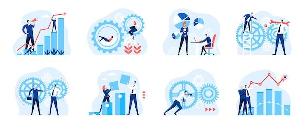 Análise de negócios pessoas com engrenagens diagrama mecanismo de gráfico fluxo de trabalho empresa conjunto de organização