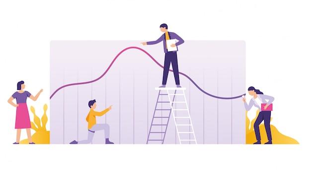 Análise de negócios, relatório financeiro e estratégia do trabalho em equipe