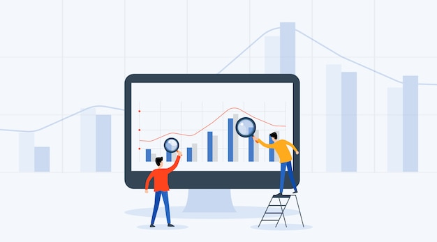 Análise de pessoas de negócios e monitoramento gráfico de relatório de investimento e finanças