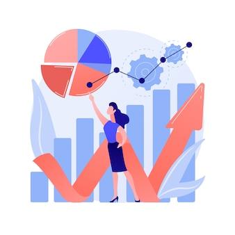 Análise de resultados de pesquisas online. gráficos de pizza, infográficos, processo de análise. análise de relatórios financeiros e de negócios. enquete social responde à ilustração do conceito de estatísticas