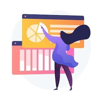Análise de resultados de pesquisas online. gráficos de pizza, infográficos, processo de análise. análise de relatórios financeiros e de negócios. estatísticas de respostas de pesquisas sociais.