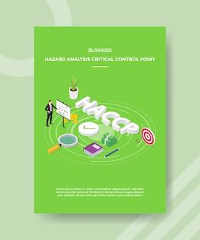 Análise de risco de negócios, ponto de controle crítico, apresentação de homens quadro gráfico em torno de dinheiro de livro de texto haccp