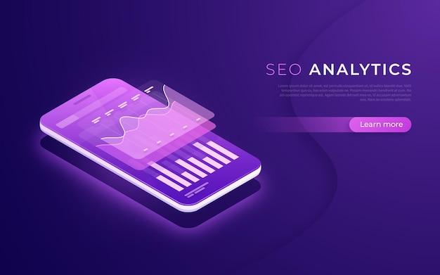 Análise de seo, análise de dados, conceito isométrico de estratégia digital.