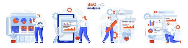 Análise de seo conjunto de conceitos de análise de dados de consulta de pesquisa estatísticas de negócios