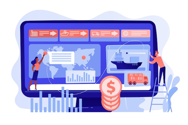 Análise do lucro da indústria de logística e frete. análise da cadeia de suprimentos, dados de fornecedores de transporte, conceito de otimização de custos de transporte. ilustração de vetor isolado de coral rosa
