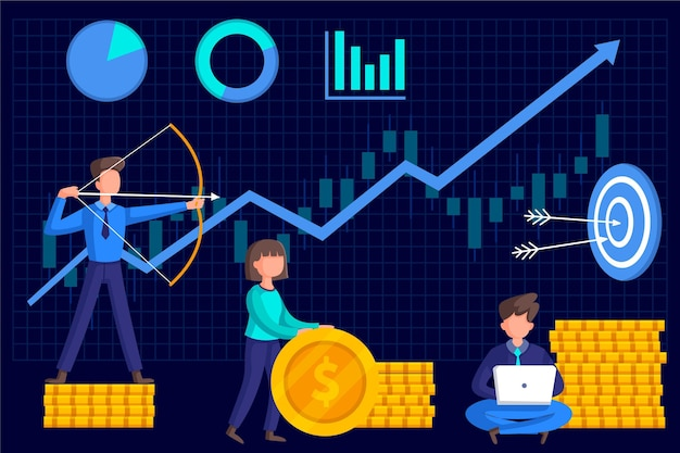Análise do mercado de ações com gráfico