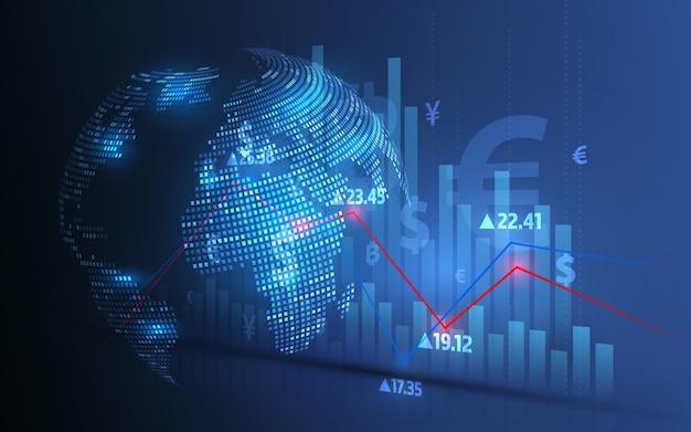 Análise do mercado de ações e negociação de ações, símbolos de moeda, gráficos de negócios e transferências globais de dinheiro