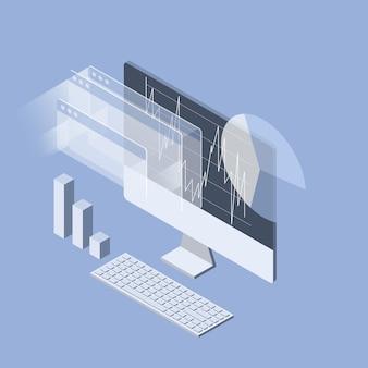 Análise do mercado de ações no monitor do computador