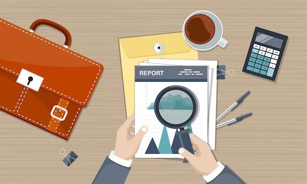 Análise e cálculos de dados de negócios, vista superior