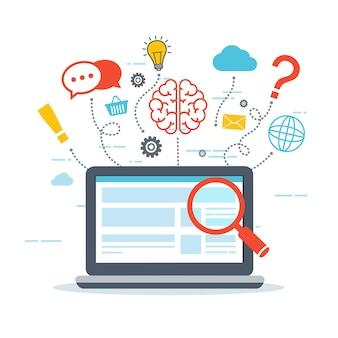 Análise e informação da web. otimização de seo. conceito de marketing digital. pensando em um laptop.