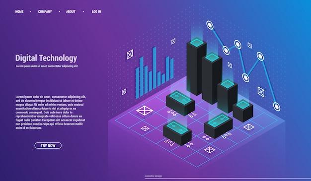 Análise e investimento. conceito de visualização de dados. 3d isométrico