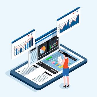 Análise e planejamento de negócios online no dispositivo tablet