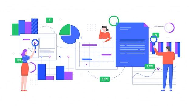 Análise financeira. as pessoas analisam gráficos financeiros, análise de gráficos de renda e funcionários de escritório trabalham juntos. ilustração plana do conceito de trabalho em equipe. cooperação e pesquisa de funcionários