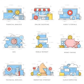 Análise financeira, compras online, tutoriais em vídeo, seo, mobil