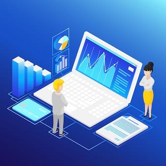 Análise financeira isométrica