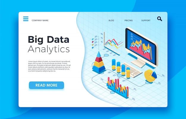 Análise isométrica de big data. painel de estatística analítica infográfico. 3d