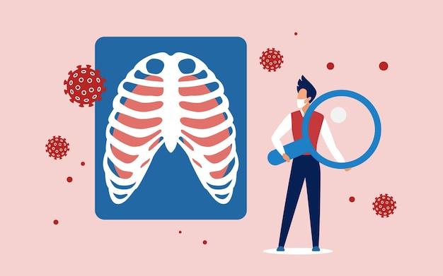 Análise médica de células de vírus de pulmão
