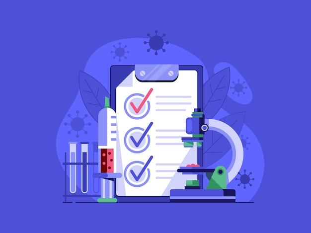 Análise médica de sangue ou cena de teste de vírus com espaço em branco de teste e vírus em design plano