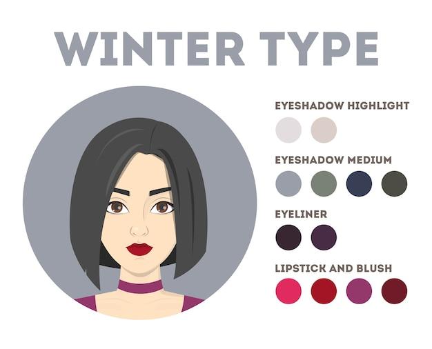 Análise sazonal de cores. tipo de inverno. brochura para mulheres