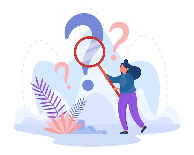 Analista curioso investigando ponto de interrogação com lupa