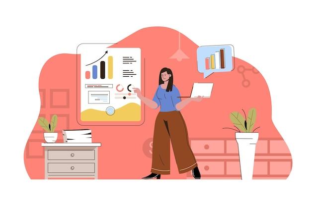 Analista de análise de dados de mulher de conceito de pesquisa de mercado