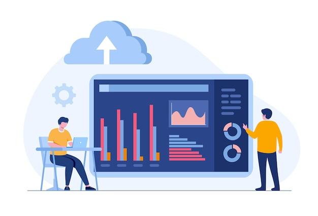Analista de negócios com serviços em nuvem, segurança de banco de dados, conceito de contabilidade, vetor de ilustração plana