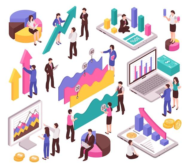 Analista de negócios conjunto com diagramas e gráficos isométricos isolados